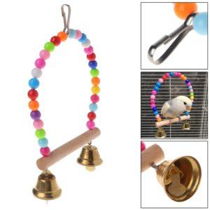 Bogenschaukel für Vögel, mit Perlen und Glocke