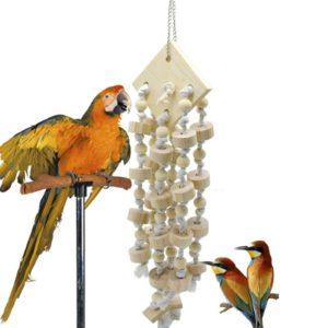Papageien Spielzeug aus Holz und Seil