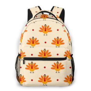 Heller Rucksack mit gelbem Vogel Muster