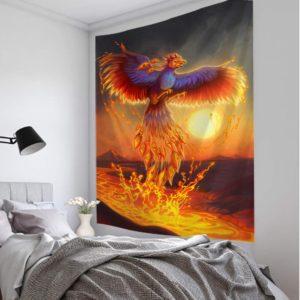 Phönix aus der Lava Feuervogel Wand Deko