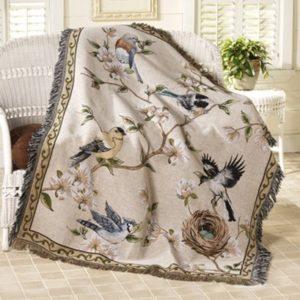 Wohndecke Sofa Überwurf gewebte Vögel